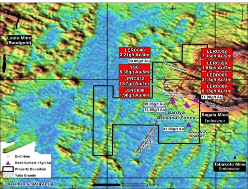 Figure 1. Airborne analytical signal magnetics image of Segala West permit showing all major open pits, significant historical drill intercepts and significant values from recent grab sampling programs (CNW Group/Desert Gold Ventures Inc.)