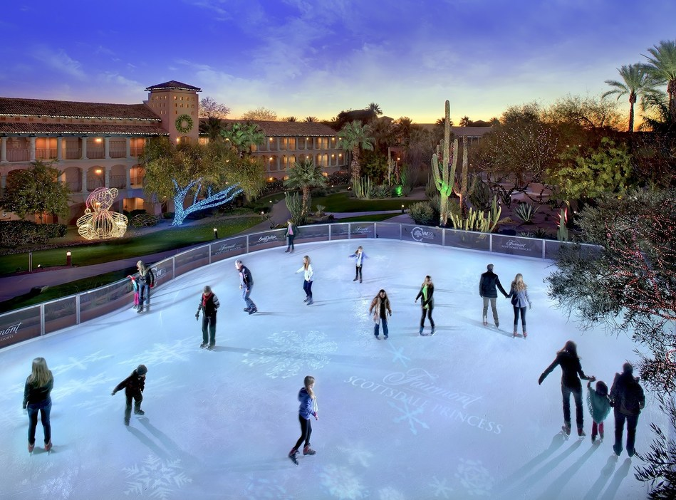 "The Desert Ice Skating Rink is just one of many attractions at the Fairmont Scottsdale Princess in Arizona, where the ""Christmas at the Princess"" festival runs November 22-December 31, 2017. The resort also has 4.6 million holiday Lagoon Lights, the Princess Express train and a 4-story musical tree. The festival is open to the public and overnight holiday packages offer added exclusives and savings. For details visit www.scottsdaleprincess.com. (PRNewsFoto/Fairmont Scottsdale Princess)"