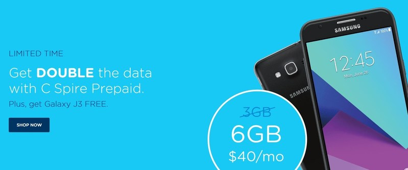 """C Spire has introduced a limited time """"Power of More"""" offer that dramatically increases the monthly data allowance on two of its most popular plans for new prepaid wireless customers.  The offer also includes the choice of a free Samsung Galaxy J3, LG K8 or the Motorola Moto E or Moto G4 Play for new activations."""