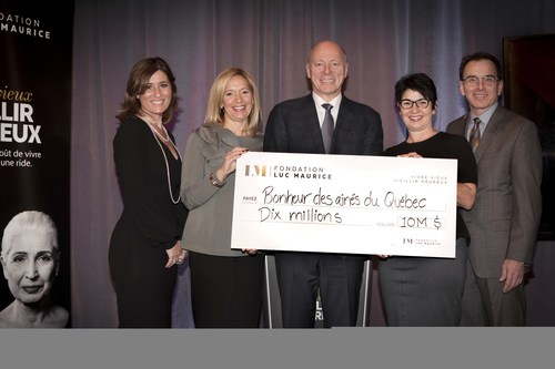 From left to right: Groupe Maurice's Rita Kataroyan, Vice President, Sales and Marketing, Isabelle Nantais, Vice President, Legal Affairs, Luc Maurice, Founder and President, Marie-Michèle Del Balso, Senior Vice President, Jacques Pearson, Vice President, Finances, proud to present a 10 million dollars check, representing the Fondation Luc Maurice's contribution for the first five years. (CNW Group/Le Groupe Maurice)