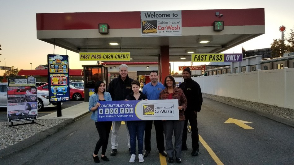 Pictured from left:  Brianna Johnson, Customer Service; Richard Smith, Vice President of Car Wash Operations; Ashley Babcock, 8 millionth FastPass customer; Ryan Roberts, Director of Car Wash Operations; Lisa Starnes, Customer Service Manager; and Alvin Thomas, Golden Nozzle site manager.