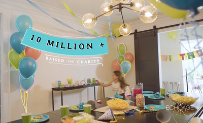 ECHOage congratulates kids for raising $10M in 10 years through its birthday party platform (CNW Group/ECHOage)