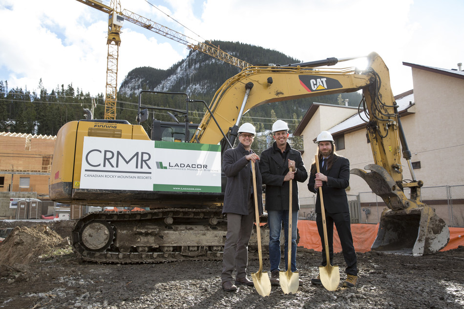 Ground Breaking on Buffalo Paddock with Larkin O'Connor, Darrell Nimchuk, and Jamie Clark - November 14, 2017 in Banff AB. (CNW Group/Canadian Rocky Mountain Resorts Ltd.)