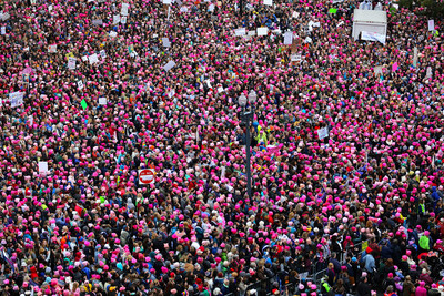 Marchers wear Pink Pussyhats at the Women's March in January 2017
