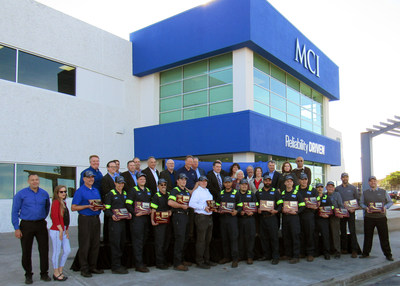 Motor Coach Industries (MCI) cuts ribbon at new San Francisco Bay Area sales and service center in Hayward, CA.