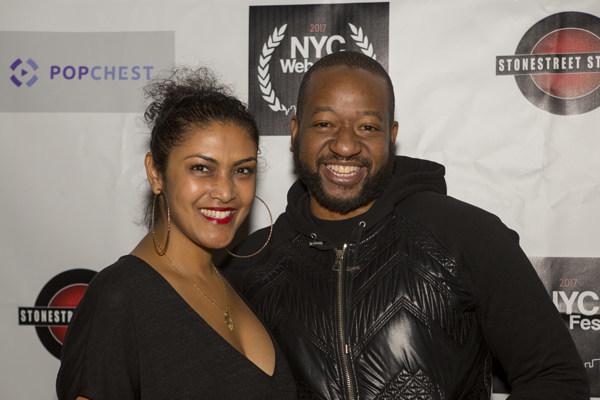 Festival Founder Lauren Atkins with Comedian & Jury Member Sherrod Small at Awards Gala