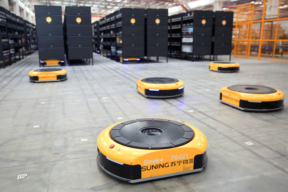 Suning's AGV warehouse in Shanghai came into service during the festival