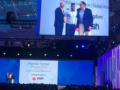 Push picking up the global award in New York (PRNewsfoto/Push)