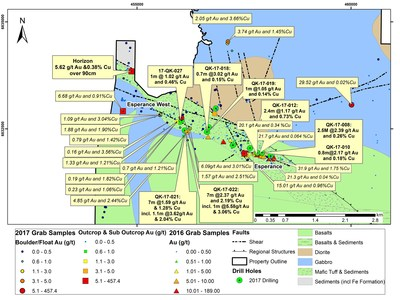 Figure 2: Esperance and Esperance West Areas: Drill Hole Locations and Significant Surface Samples from the 2017 program (CNW Group/Orford Mining Corporation)
