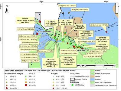 Figure 2: Esperance and Esperance West Areas: Drill Hole Locations and Significant Surface Samples from the 2017 program (CNW Group/RNC Minerals)