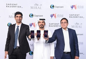 Mohamed Abdalla Al Zaabi, CEO of Miral with Narayan Iyer, Vice President, Asia-Pacific, Middle East and India, Cognizant and Srinivas Devulapalli, Group Vice President and Managing Partner EMEA at SapientRazorfish. (PRNewsfoto/Miral Asset Management)