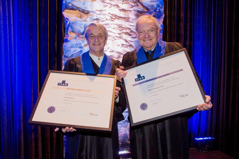 Jean Soulard et Michel Phaneuf, C.M., récipiendaires d'un diplôme honoris causa (Groupe CNW/Institut de tourisme et d'hôtellerie du Québec)