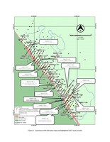 Figure 1: Saramacca drill hole plan map and highlighted 2017 assay results. (CNW Group/IAMGOLD Corporation)