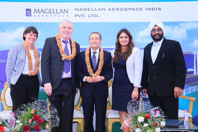 Minister of International Trade, Francois-Philippe Champagne poses with Magellan Executive team Mr. Haydn Martin, Mr. Jasdeep Bevli, and Ms. Jennifer Daubeny, Consul General, Bengaluru at the groundbreaking ceremony for Magellan Aerospace's new manufacturing and assembly facility in Devanahalli, India. (CNW Group/Magellan Aerospace Corporation)
