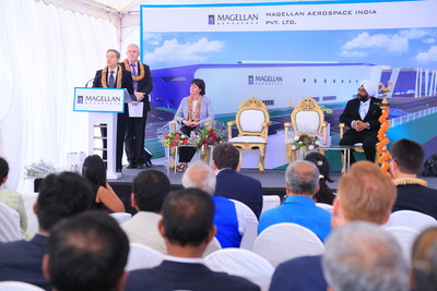 Minister of International Trade, Francois-Philippe Champagne speaks at the groundbreaking ceremony for Magellan Aerospace's new manufacturing and assembly facility in Devanahalli, India. (CNW Group/Magellan Aerospace Corporation)