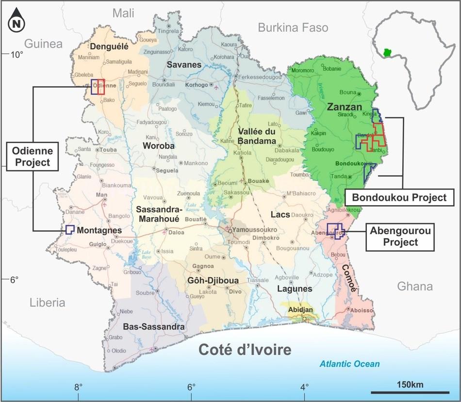 Cote D'Ivoire Project Areas:  Bondoukou, Abengourou, Odienne (CNW Group/Spada Gold Ltd.)