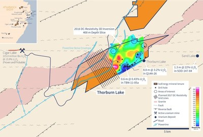 Figure 1 – Thorburn Lake 2017 Geophysical Survey Grid Location. (CNW Group/IsoEnergy Ltd.)