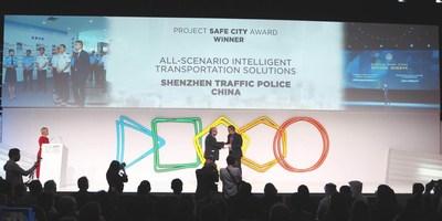 """Ganhadora do Prêmio Cidade Segura: polícia de trânsito de Shenzhen -- primeiras soluções de transporte inteligente para todos os cenários globais ajudam a desenvolver o """"cérebro do trânsito"""" para as cidades. (PRNewsfoto/Huawei)"""