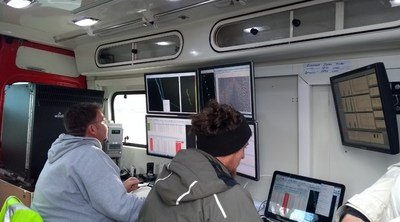 Photo 3: Real time data processing and quality control on the road in County Clare. (CNW Group/Hannan Metals Ltd.)