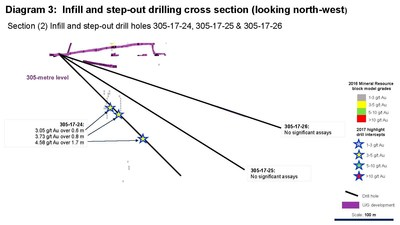 Diagram 3: Infill and step-out drilling cross section (looking north-west) Section (2) Infill and step-out drill holes 305-17-24, 305-17-25 & 305-17-26 (CNW Group/Rubicon Minerals Corporation)