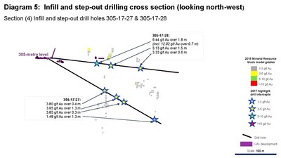 Diagram 5: Infill and step-out drilling cross section (looking north-west) Section (4) Infill and step-out drill holes 305-17-27 & 305-17-28 (CNW Group/Rubicon Minerals Corporation)