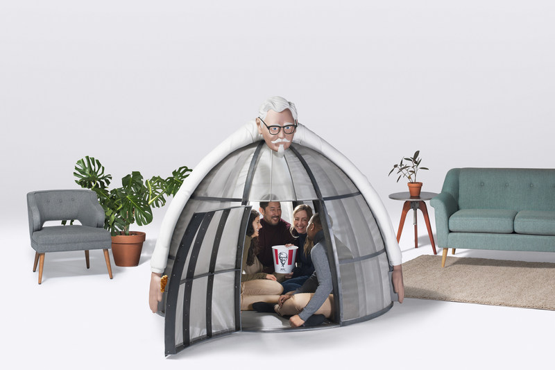 A true respite, sit in the Internet Escape Pod with your friends or family while going tech-free (it comfortably fits four adults and a bucket of Kentucky Fried Chicken) and find yourself comforted by the Colonel's reassuring embrace.