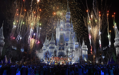 Colorful fanfare and stunning holiday lights envelop Cinderella Castle at Magic Kingdom Park in Lake Buena Vista, Fla., Sunday, Nov. 5, 2017, during a taping for 'The Wonderful World of Disney: Magical Holiday Celebration.' The exciting two-hour ABC special from Walt Disney World Resort and Disneyland Resort premieres Thursday, November 30, 9-11p.m. ET, on The ABC Television Network. (Todd Anderson, photographer)