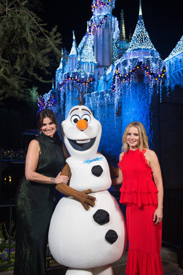 Tony Award-winning actress Idina Menzel (left) and fellow 'Frozen' star Kristen Bell join Olaf just moments before performing on the steps of Sleeping Beauty Castle at Disneyland Park in Anaheim, Calif., Tuesday, Nov. 14, 2017, for a taping of 'The Wonderful World of Disney: Magical Holiday Celebration.' The duo will appear singing together for the first time on primetime television, Thursday, Nov. 30, 9-11p.m. ET, on The ABC Television Network. (Matt Petit, photographer)
