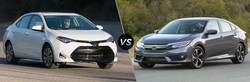 The 2018 Toyota Corolla, seen here next to the Honda Civic, is available now at Arlington Toyota in Palatine, Illinois.