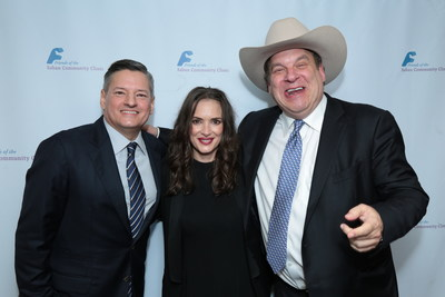 "Saban Community Clinic's 50th Anniversary Dinner Gala honoree Ted Sarandos, Chief Content Officer of Netflix, with actress Winona Ryder, Netflix's ""Stranger Things"", and actor/comedian Jeff Garlin, ABC's ""The Goldbergs."""