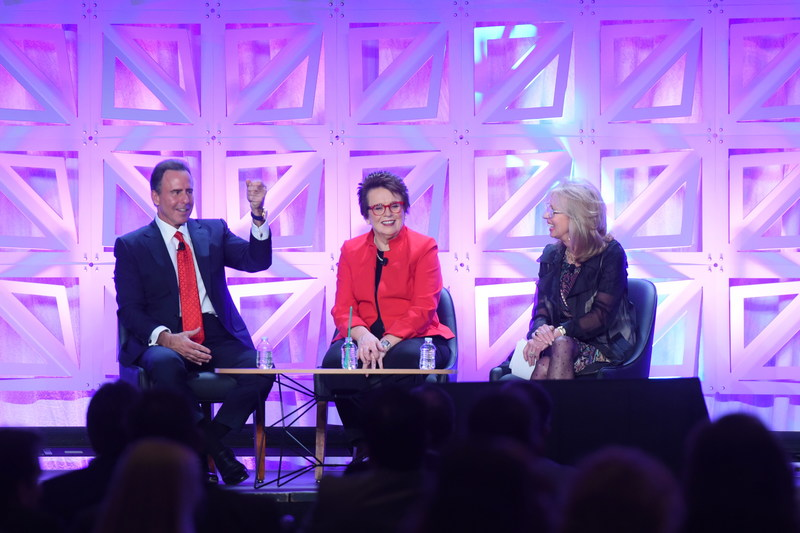 Caesars Entertainment CEO Mark Frissora is joined on stage by Billie Jean King and Caesars Executive Vice President Jan Jones Blackhurst to announce the company's commitment to gender equality.