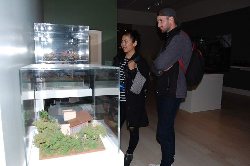 Sijia Zhou and David Verbeek from Canada examine scale models of Frank Lloyd Wright's designs during their tour of the SC Johnson campus. Photo courtesy SC Johnson