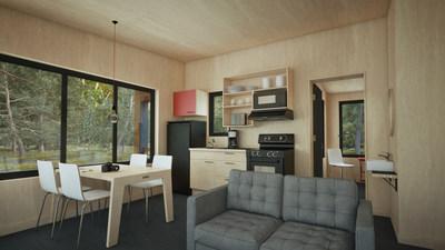 The Écho cabin is bigger than its little EXP. cousin. It offers two rooms, thus enabling it to accommodate up to four adults. (CNW Group/Société des établissements de plein air du Québec)