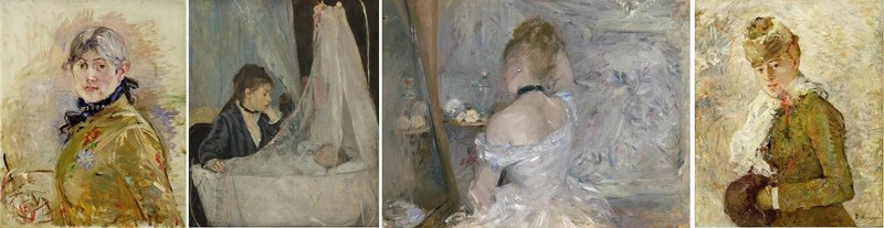 Images (left to right): Berthe Morisot, Self-Portrait, 1885, oil on canvas. Musée Marmottan-Claude Monet, Fondation Denis et Annie Rouart, Photo courtesy Musée Marmottan Monet, Paris, France / Bridgeman Images; Berthe Morisot, The Cradle, 1872, oil on canvas, Musée d'Orsay, Paris, RF 2849, Photo by Michael Urtado. © RMN-Grand Palais / Art Resource, NY; Berthe Morisot, Woman at Her Toilette, 1875–1880, oil on canvas, The Art Institute of Chicago, Inv. no. 1924.127, Photo courtesy The Art Institute of Chicago / Art Resource, NY; Berthe Morisot, Winter, 1880, oil on canvas, Dallas Museum of Art, Gift of the Meadows Foundation, Incorporated, 1981.129 (CNW Group/Musée national des beaux-arts du Québec)