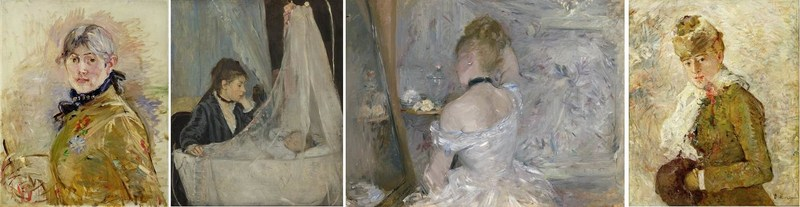 Images (gauche à droite) : Berthe Morisot, Autoportrait, 1885, huile sur toile. Musée Marmottan-Claude Monet, Fondation Denis et Annie Rouart, photo gracieuseté du Musée Marmottan Monet, Paris, France / Bridgeman Images; Berthe Morisot, Le Berceau, 1872, huile sur toile, Musée d'Orsay, Paris, RF 2849, photo de Michael Urtado. © RMN-Grand Palais / Art Resource, NY; Berthe Morisot, Une dame à sa toilette, 1875–1880, huile sur toile, The Art Institute of Chicago, Inv. no. 1924.127, Photo gracieuseté de la Art Institute of Chicago / Art Resource, NY; Berthe Morisot, Hiver, 1880, huile sur toile, Dallas Museum of Art, don de la Meadows Foundation, Incorporated, 1981.129 (Groupe CNW/Musée national des beaux-arts du Québec)