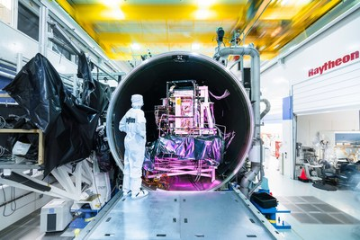 After an incredibly cold workout in a thermal vacuum chamber, Raytheon's third VIIRS instrument is ready for the extreme temperatures and vacuum of space. (Photo courtesy of Reuben Wu)