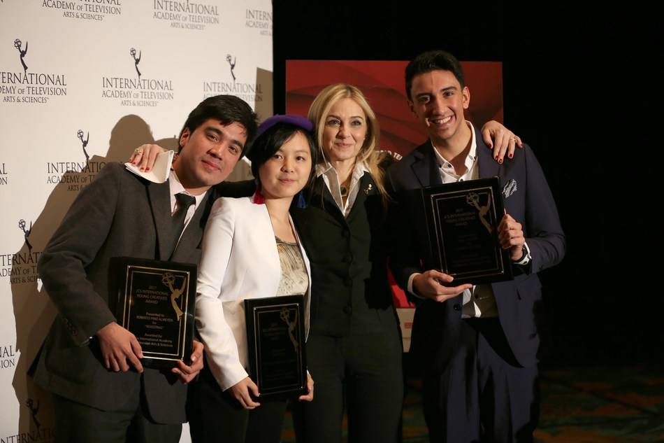 Credit - Noa Grayevsky: JCS International President Michal Grayevsky (second from right) celebrated with 2017 Young Creative Award Winners Roberto Pino Almeyda, Ewing Luo and Eisa Alhabib.