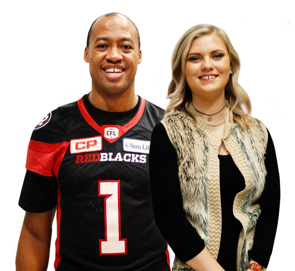 104th Grey Cup MVP and CP Has Heart Family member Henry Burris and Ottawa Heart Institute's ambassador Olivia Hiddema have been involved in promoting the #BeautifulHearts campaign since the beginning. (CNW Group/Canadian Pacific)