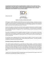 "SDX Energy Inc. (""SDX"" or the ""Company"") - Updates on the Sebou and Gharb Centre permits (CNW Group/SDX Energy Inc.)"