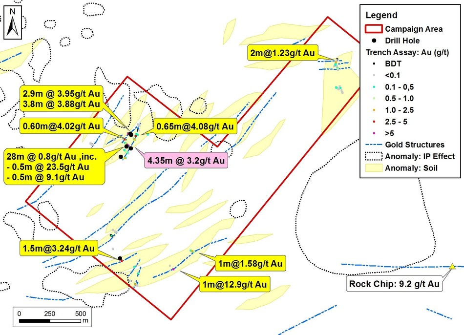 Figure 3: Results from the trenching program (yellow labels) and peak drill intercept (pink labels). Geochemical corridors in the immediate area requiring further evaluation are outlined in yellow, and remain open to the east. Various induced polarization anomalies are shown in dashed black outline. (CNW Group/Meridian Mining S.E.)