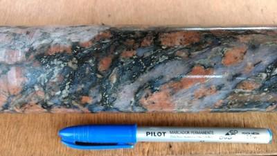 Figure 5: Brittle vein zone in granite. (CNW Group/Meridian Mining S.E.)