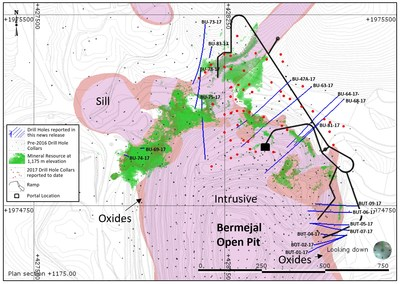 Figure 1: Plan View Map of Bermejal Area Showing Geology, Drill Holes Reported and Outline of Bermejal Underground Resource (CNW Group/Leagold Mining Corporation)