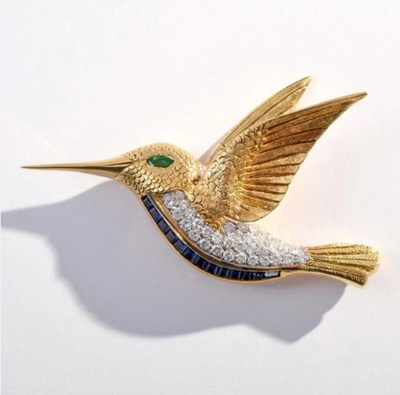 Fine jewelry will be available at price points to please most buyers, from this beautifully designed 18K gold, diamond, emerald and sapphire hummingbird brooch, estimate $4,000-$5,000, to an exquisite emerald and diamond ring that is expected to make $40,000-$60,000. Palm Beach Modern Auctions image