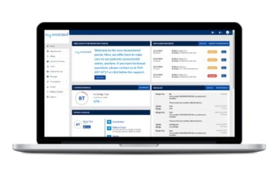 Westmed-branded Bridge Patient Portal patient dashboard