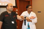NYU Winthrop Hospital-Dr. Fahd Ali and Dr. D'Andrea Joseph instruct a Stop the Bleed class in the use of a tourniquet