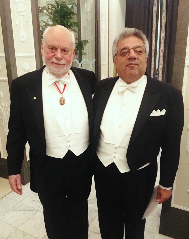Sir Fraser Stoddart with Dr. Youssry Botros at the 2016 Nobel Prize presentation