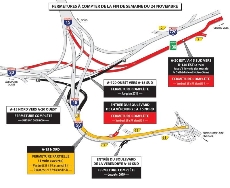 Projet Turcot - Fermetures dans le secteur de l'échangeur Turcot durant la fin de semaine du 24 novembre 2017 (Groupe CNW/Ministère des Transports, de la Mobilité durable et de l'Électrification des transports)