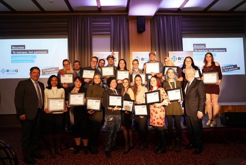 Récipiendaires des bourses Ta marque, ton parcours (Groupe CNW/Réseau des Carrefours jeunesse-emploi du Québec)