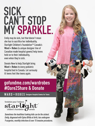 Sick Can't Stop My Sparkle: Starlight Teen Emily (CNW Group/Starlight Children's Foundation Canada)