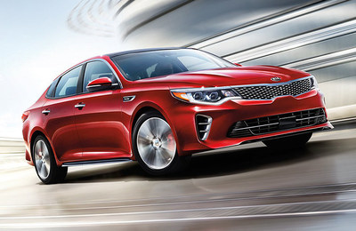 Exterior view of the 2018 Kia Optima, which is now available at Riverchase Kia of Pelham.